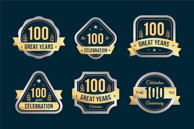 Collection de badges 100% anniversaire