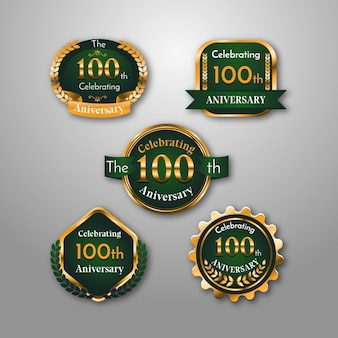 Collection de badges 100e anniversaire