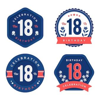 Collection de badges 18e anniversaire