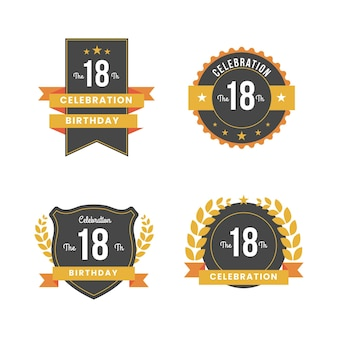 Collection de badges 18e anniversaire