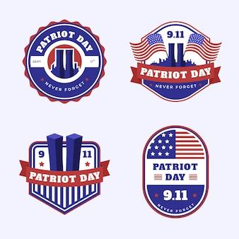 Collection de badges 9.11 patriot day dessinés à la main