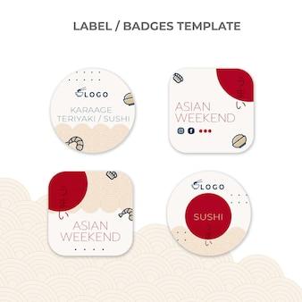 Collection de badges alimentaires design plat