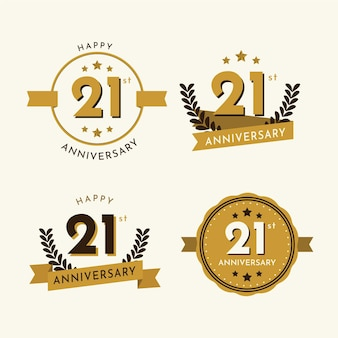 Collection de badges anniversaire 21 design plat
