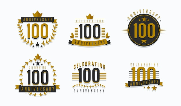 Collection de badges d'anniversaire de cent ans