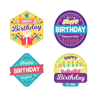 Collection de badges d'anniversaire colorés