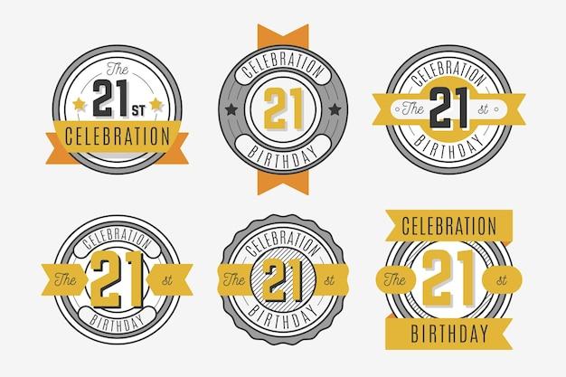 Collection de badges anniversaire design plat 21