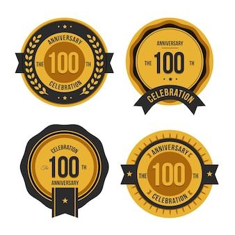 Collection de badges d'anniversaire du centenaire