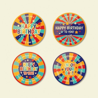Collection de badges d'anniversaire plat