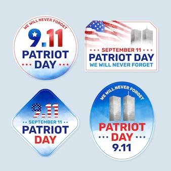 Collection de badges aquarelle 9.11 patriot day