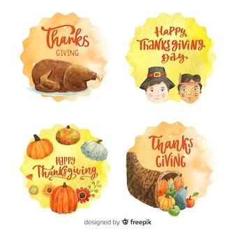 Collection de badges aquarelle happy thanksgiving