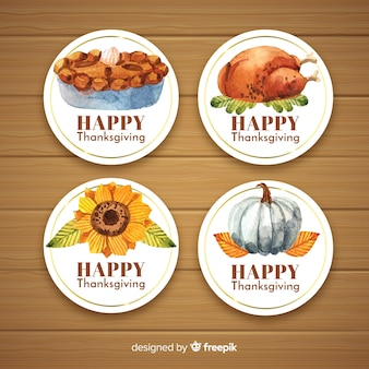 Collection de badges aquarelle happy thanksgiving