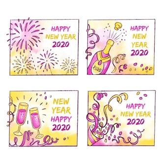 Collection de badges aquarelle nouvel an 2020