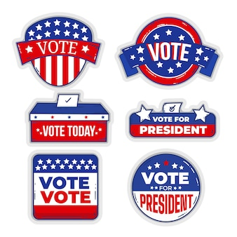 Collection de badges et autocollants de vote