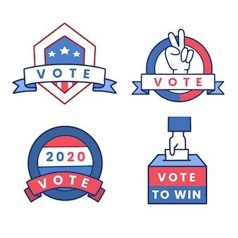 Collection de badges et autocollants de vote