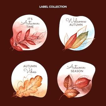 Collection de badges automne aquarelle