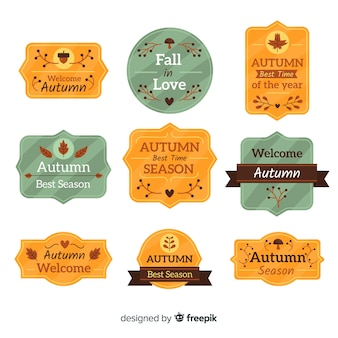 Collection de badges automne design plat
