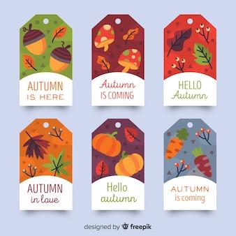 Collection de badges automne design plat