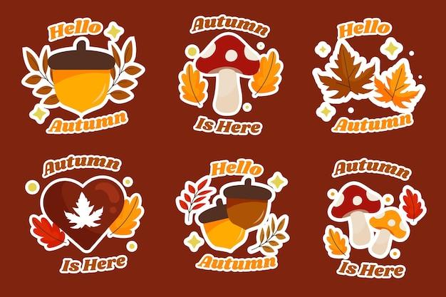 Collection de badges automne plat