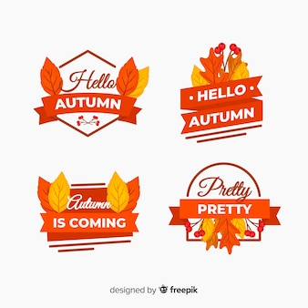 Collection de badges d'automne plats