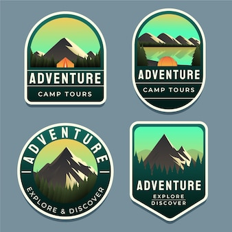 Collection de badges d'aventure dégradé