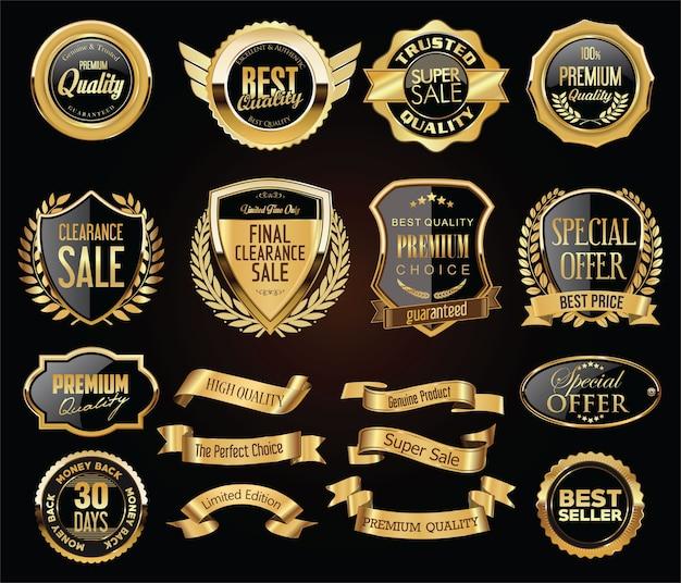 Collection de badges et de boucliers d'étiquettes de badges dorés vintage rétro
