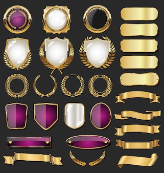 Collection de badges boucliers et étiquettes de style rétro