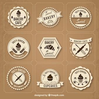 Collection de badges de la boulangerie retro