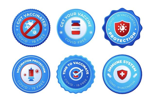 Collection de badges de campagne de vaccination dégradé