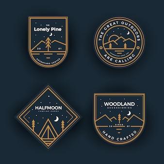 Collection de badges de camping en plein air