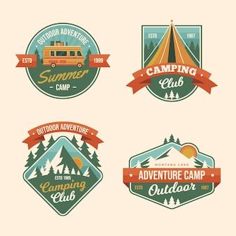 Collection de badges de camping vintage