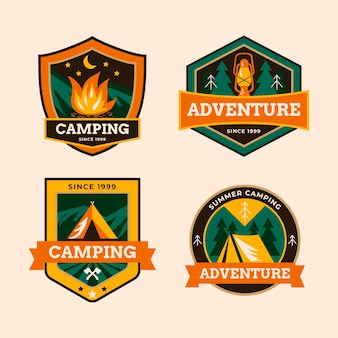 Collection de badges de camping vintage