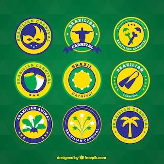 Collection de badges de carnaval ronde