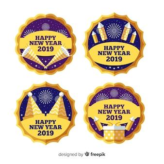 Collection de badges cercle nouvel an