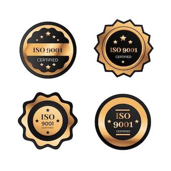 Collection de badges de certification iso