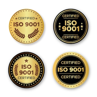 Collection de badges de certification iso
