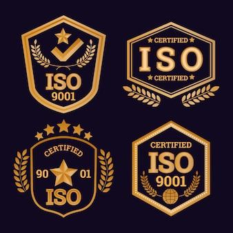 Collection De Badges De Certification Iso Vecteur gratuit