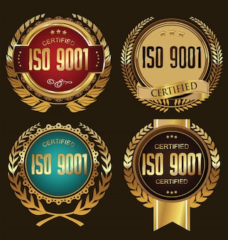 Collection de badges certifiés iso 9001