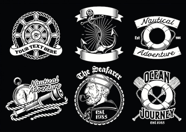 Collection de badges de concept nautique