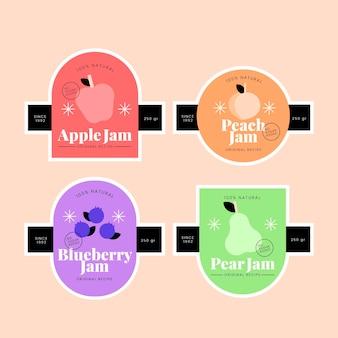 Collection de badges de confiture design plat
