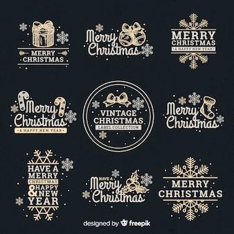 Collection de badges contrastés calligraphiques de noël