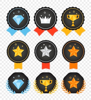 Collection de badges de couleur de vecteur isolée