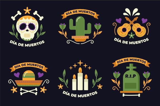 Collection de badges design plat dia de muertos