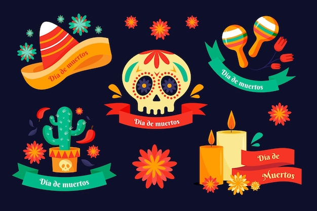 Collection de badges design plat dia de muertos