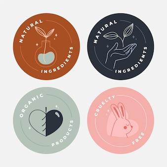 Collection de badges dessinés à la main sans cruauté