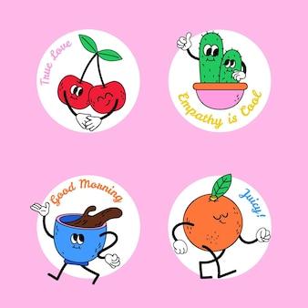 Collection de badges de dessins animés à la mode dessinés à la main