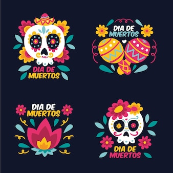 Collection de badges dia de muertos au design plat