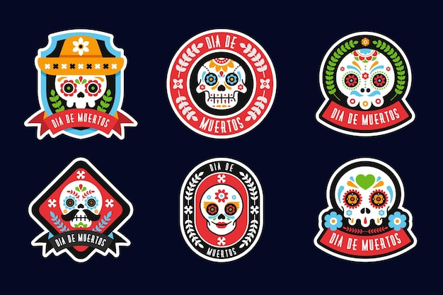 Collection de badges día de muertos au design plat