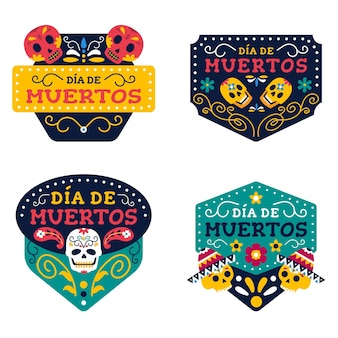 Collection de badges día de muertos au design plat