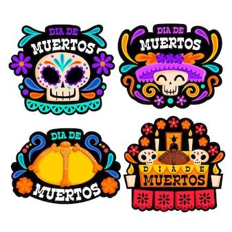 Collection de badges dia de muertos en design plat