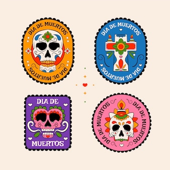 Collection de badges dia de muertos dessinés à la main